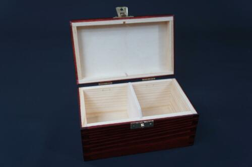 1x Mahogany Wooden Tea Box Tea Caddy Kitchen Chest 2 Compartments Storage H2mm