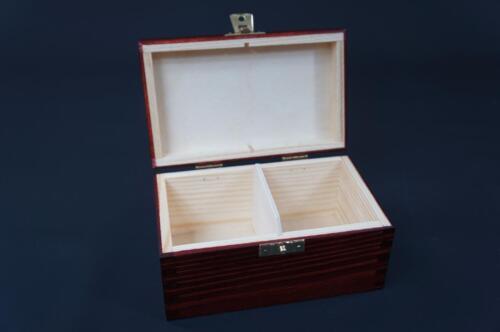 1x Mahogany Wooden Tea Box Tea Caddy Kitchen Chest 2 Compartments Storage H2mm