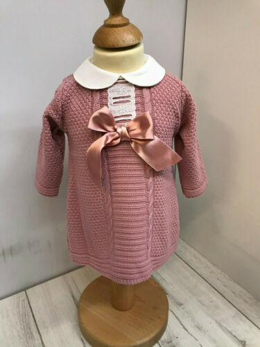 Baby Girl Dusky Pink Knitted Dress Contrasting Peter Pan Collar and Large Bow