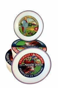 French Vintage Advertising Cheese Plates - Set of 4 - Each a Different Image