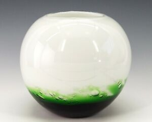 White Art Glass Globe Rose Vase Bubble Cased Ombre Green Hand Blown Modern