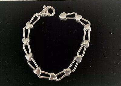Vintage Tiffany Co Solid Sterling Silver Padlock Heart Link Bracelet Rare Ebay