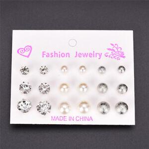 Vintage-9-Pair-Rhinestone-Pearl-Earrings-Set-Fashion-Ball-Earrings-Jewelry-SYNFK
