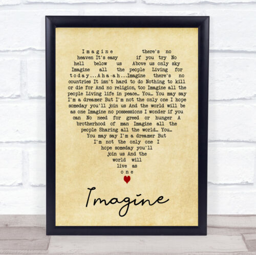 Imagine Vintage Heart Quote Song Lyric Print