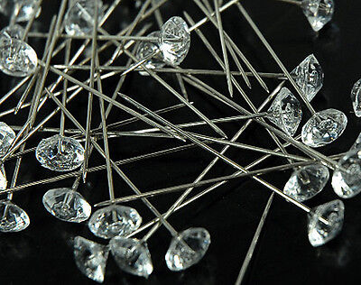 """2/"""" Clear Diamond Diamante Corsage and Bouquet Pins Pack of 30 Count"""