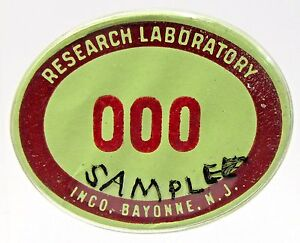 1940's WWII RESEARCH LABORATORY INCO Bayonne employee badge pinback home front +