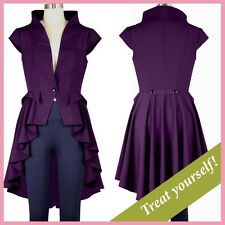 High Collar Black Red Purple Goth Steampunk Victorian Riding Jacket Top
