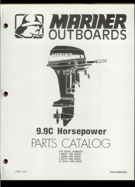 Orig 1980 Mariner 9 9c Hp Outboard Motor Engine Illustrated Parts List Catalog Ebay