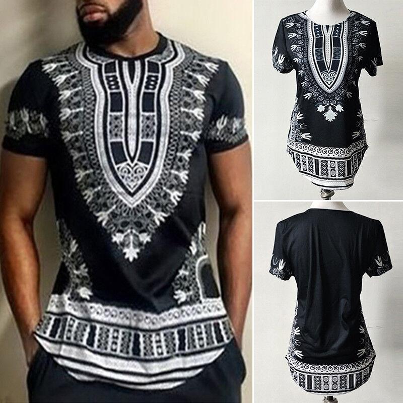 db60bd65ab0f 2018 New Tribal Shirt Men Dashiki Print Succinct Hippie Top Blouse Clothing