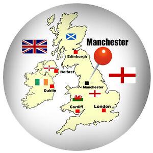 Manchester-GB-Rond-Souvenir-Nouveaute-Refrigerateur-Aimant-Flag-Carte