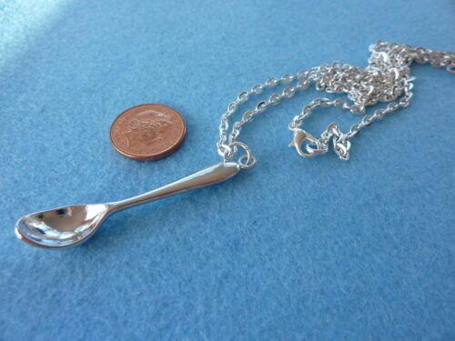 "Mini Tea Spoon Pendant Necklace 30/"" Chain Alice Spoon Charm Birthday Gift # 91"