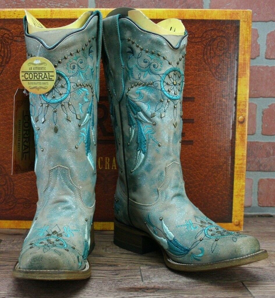 Corral Women's Turquoise Dream Dream Dream Catcher Embroidered Square Toe Boots E1336 - 6.5 da9523