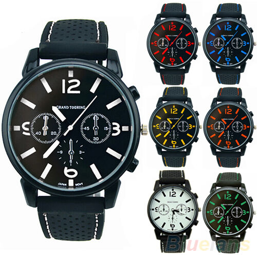 Men's Fashion Analog Silicone Stainless Steel Quartz Hours Sports Wrist Watch