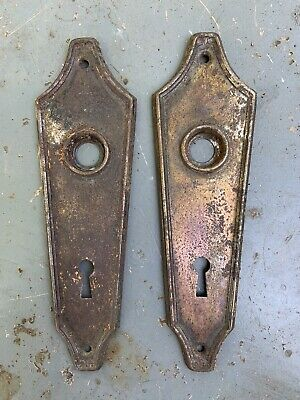 Vintage Pair Wooden Door Handles And Back plates-Steel Spindle Project 1930s