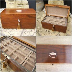 ANTIQUE JEWELLERY BOX - 19c GEORGIAN  INLAID MAHOGANY  WONDERFUL INTERIOR