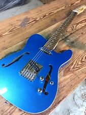 NEW CHAMBERED METALLIC FLAKE ICE BLUE STYLE PRO TELE 6 STRING ELECTRIC GUITAR