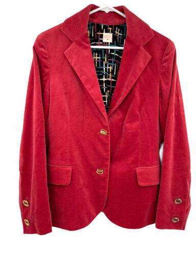 Anthropologie Lauren Moffatt Velvet Red Blazer Go… - image 1
