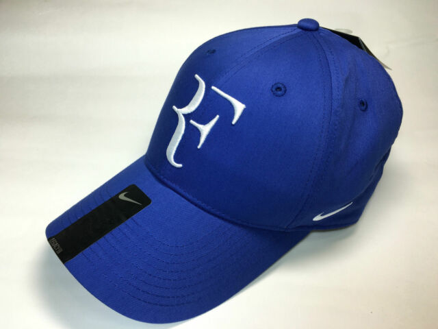 Nike Men Roger Federer RF Hybrid Tennis Cap Hat Blue White 371202 ... 2b570cfa3276