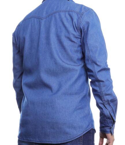 Camicia da Uomo Jeans Casual Chambray Manica Lunga Grande /& Alto S-6XL Taglie