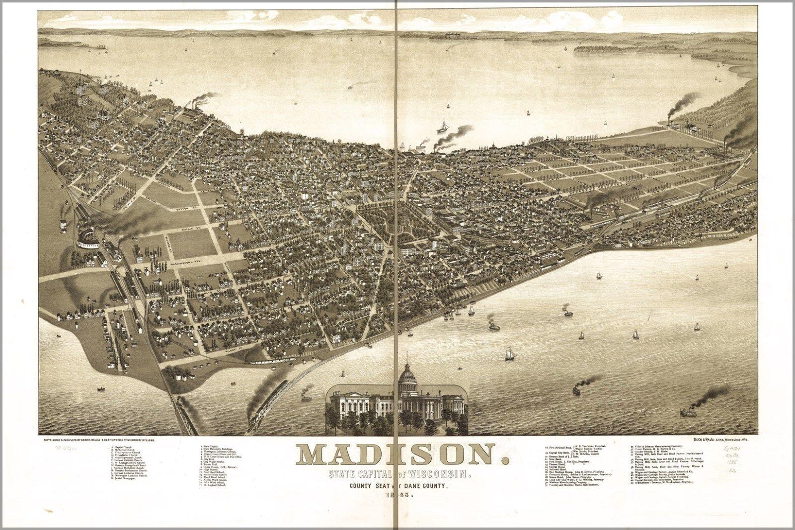 Poster, Molte Misure; Mappa Del Madison, Wisconsin 1885