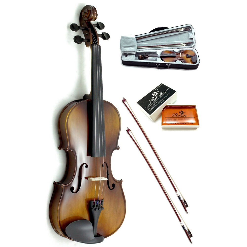 New 3 4 Solid Wood Violin w Case (blk), 2 Brazilwood Bows & Rosin