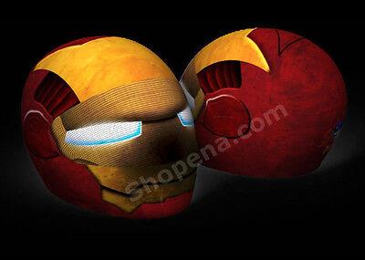 Iron Man Helmet Cover Iron Head Motorcycle Full Face Skin Street Sport Bike NEW