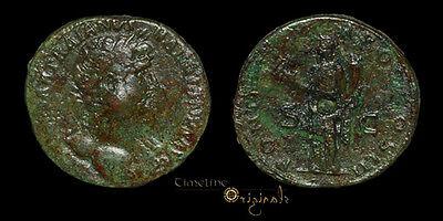 HADRIAN FELICITAS ROME MINT ANCIENT ROMAN SESTERTIUS COIN 025902