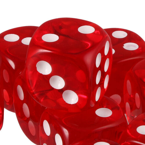 Pack of 10pcs Acrylic Six Sided D6 Dice for D/&D TRPG Party Board Game Toys Red