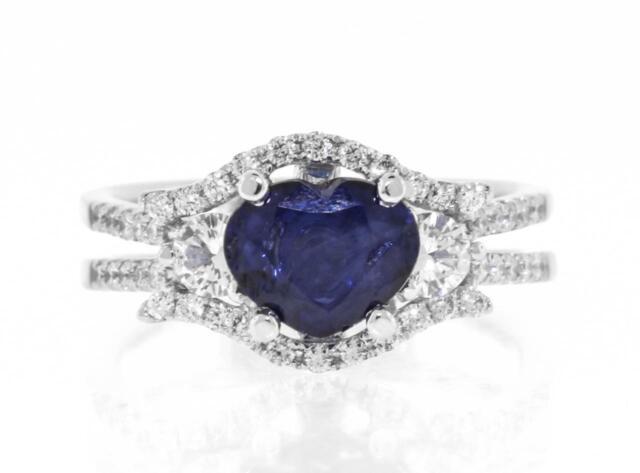 Heart Sapphire Diamond Ring Blue 2.25ct 18k White Gold Three Stone