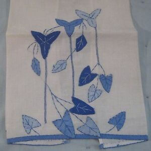 Antique Blue White Applique Leaf Leaves Tea Linen Hand Kitchen Guest Towel Vtg