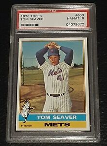 1976 Topps #600 Tom Seaver Card - HOF - Mets - PSA 8 - NM-MT - 04079672 - (SCA)