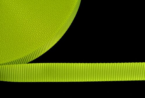 25mm Polyester Webbing Fluorescent Yellow For Bags Straps Leads x2 x5 x10 Metres