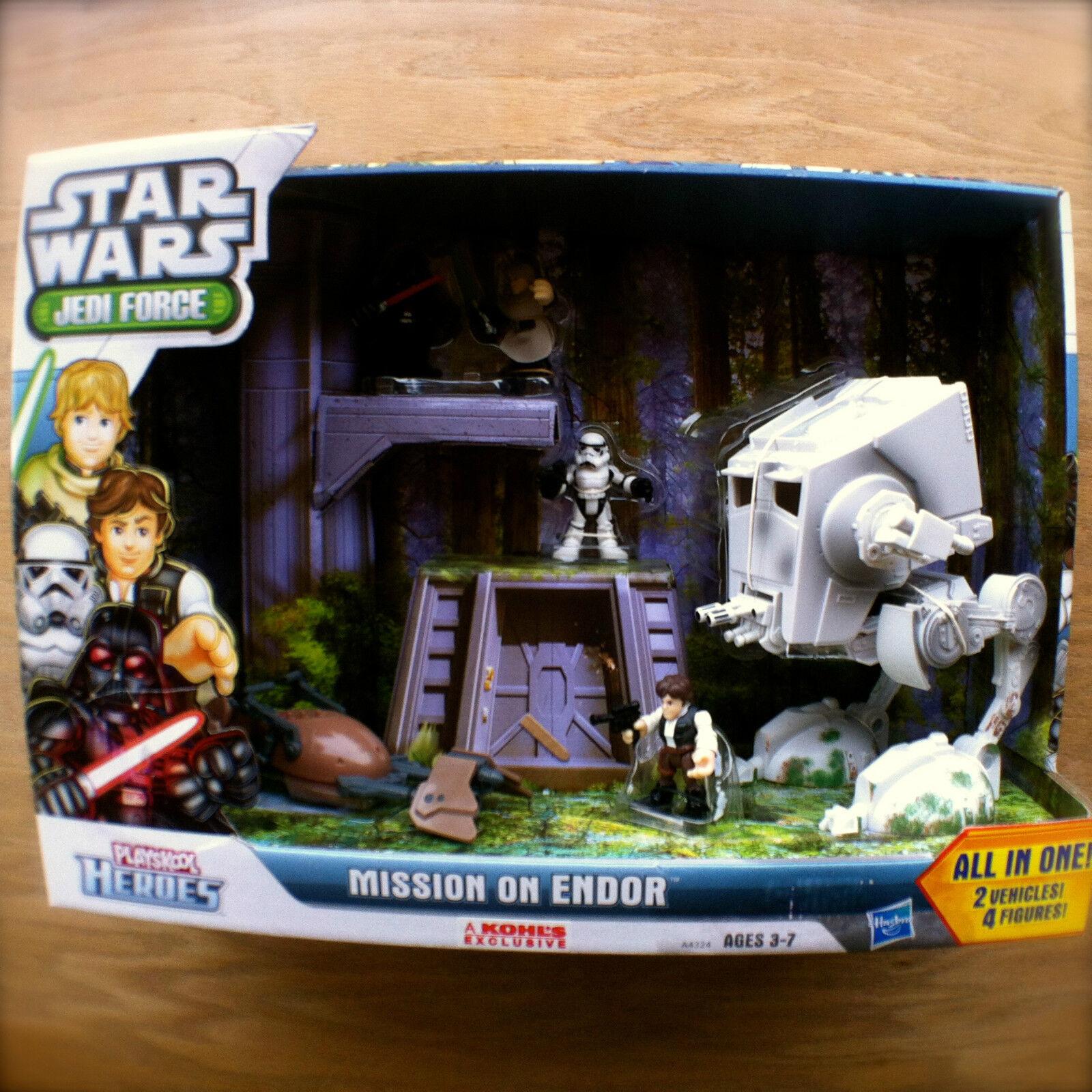 STAR WARS Jedi Force MISSION ON ENDOR 2 Vehicles 4 Guys PLAYSKOOL HEROES Hasbro