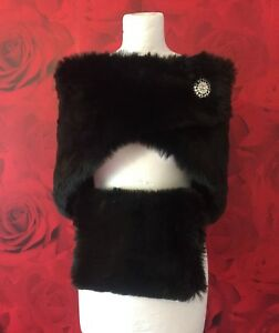 LUXURY SILVER FLECK FAUX FUR SHRUG AND MUFF SET  *free swatches*
