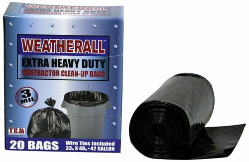 3 Mil FREE SHIPPING 20 42 Gallon Contractor Cleanup Heavy Duty Trash Bags