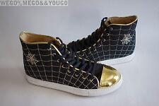 "CHARLOTTE OLYMPIA ""WEB"" black canvas metallic high tops sneakers 38 US 8"