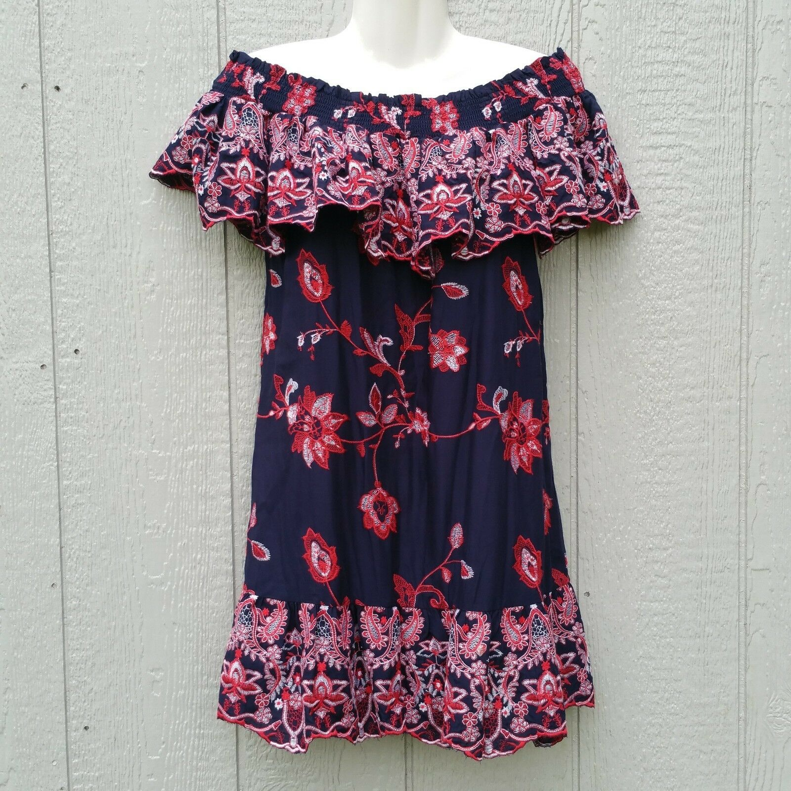 Parker Women's Dress Size XS Embroidered Midi Ruffle Cold Shoulder Floral
