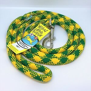 "NEW Green & Gold Dog Leash 60""-Long Round Rope Team Spirit by Yellow Dog"