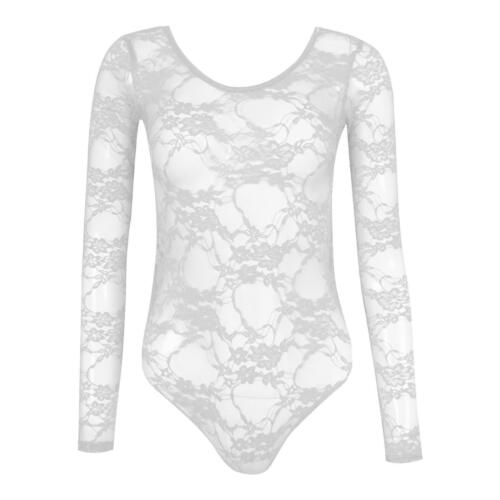 NEW Womens Ladies Long Sleeved Full Lace Bodysuit Top UK Quality Made 8-22