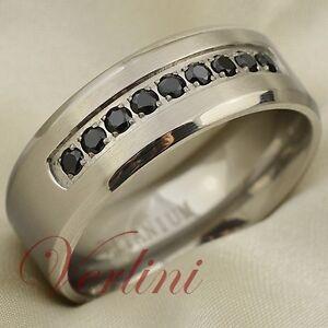 Image Is Loading 8mm Anium Ring Black Diamond Simulated Mens Wedding