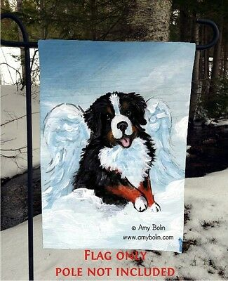 Bernese Mountain DOG MY SWEET ANGEL #2 12 By 18 GARDEN FLAG no pole by Amy Bolin