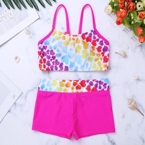 Girls Tankini Swimsuit Set 3PCS Kids Bathing Suit Tops+Bottoms Skirts Swimwear