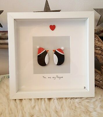 Penguin love Christmas hat Personalised Pebble Art Frame