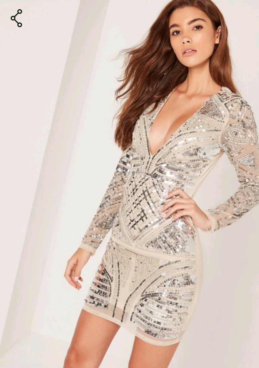 Missguided premium embellished plunge bodycon dress nude Size 12 BNWT RRP