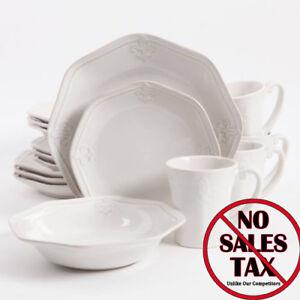 Image Is Loading Fleur De Lis 16 Piece White Dinnerware Dishes