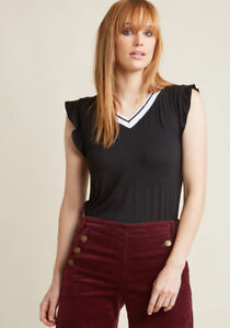 New-Modcloth-Fervour-Sporty-V-Neck-Top-Sz-S-with-Ruffle-Sleeves-in-Black