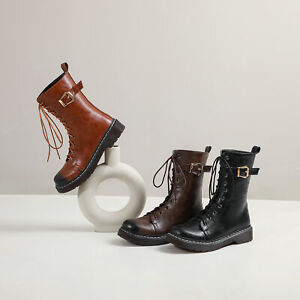 Womens-Fur-Lined-Ankle-Boots-Leather-Low-Heels-Lace-Up-Round-Toe-Buckle-Shoes