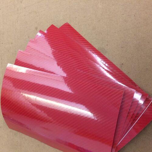 4D Carbon Fibre Vinyl Car Motorbike Vehicle Wrap Air//Bubble Free Red