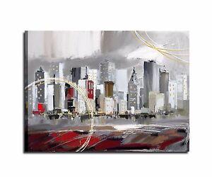 Quadri moderni dipinti a mano grigio rosso salone salotto for Quadri moderni per salotto