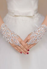 White Sheer Cutout Floral Gloves Wrist Bridal Opera Prom Wedding Formal Party OS